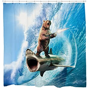 Funny Shower Curtain, Shark Shower Curtain, Bear Shower Curtain, Nautical Bathroom Ideas, Surreal Bathroom Decor, Beach Theme Art