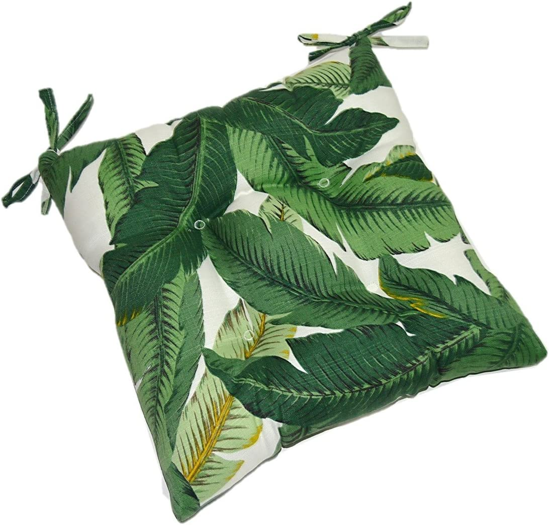 Indoor Outdoor Universal Tufted Seat Cushion with Ties for Dining Kitchen Patio Chair – Tommy Bahama Swaying Palms – Aloe – Green Tropical Palm Leaf – Choose Size 22 W X 22 D