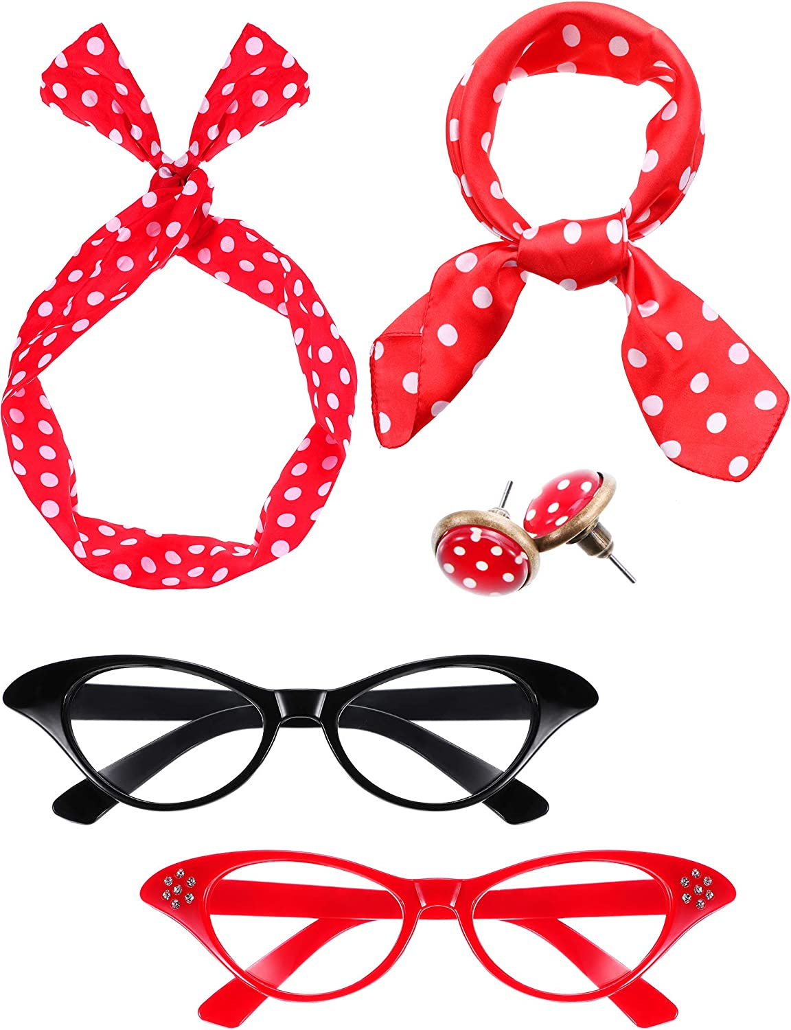50s ROCKABILLY Glasses OR Head Scarf accessories Fancy Dress GREASE RETRO 60s