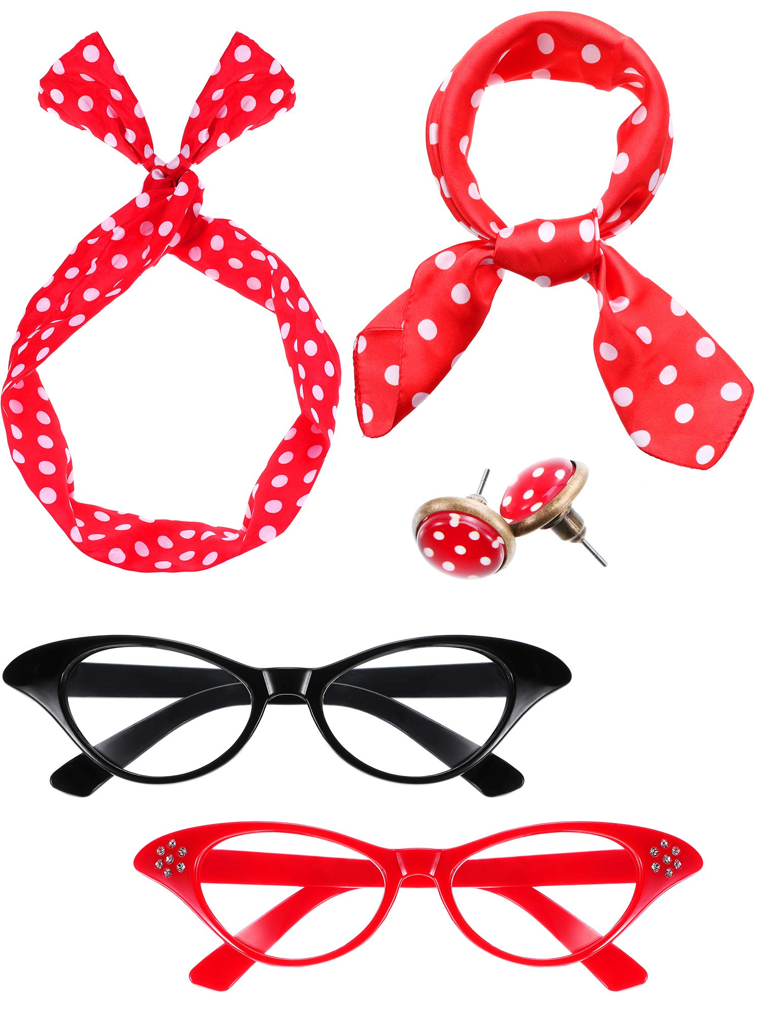 Blulu Women 50's Costume Accessories Set, Include 2 Pairs Cat Eye Glasses, Bandana Scarf, Wave Points Headband and Earrings (Red and Black)