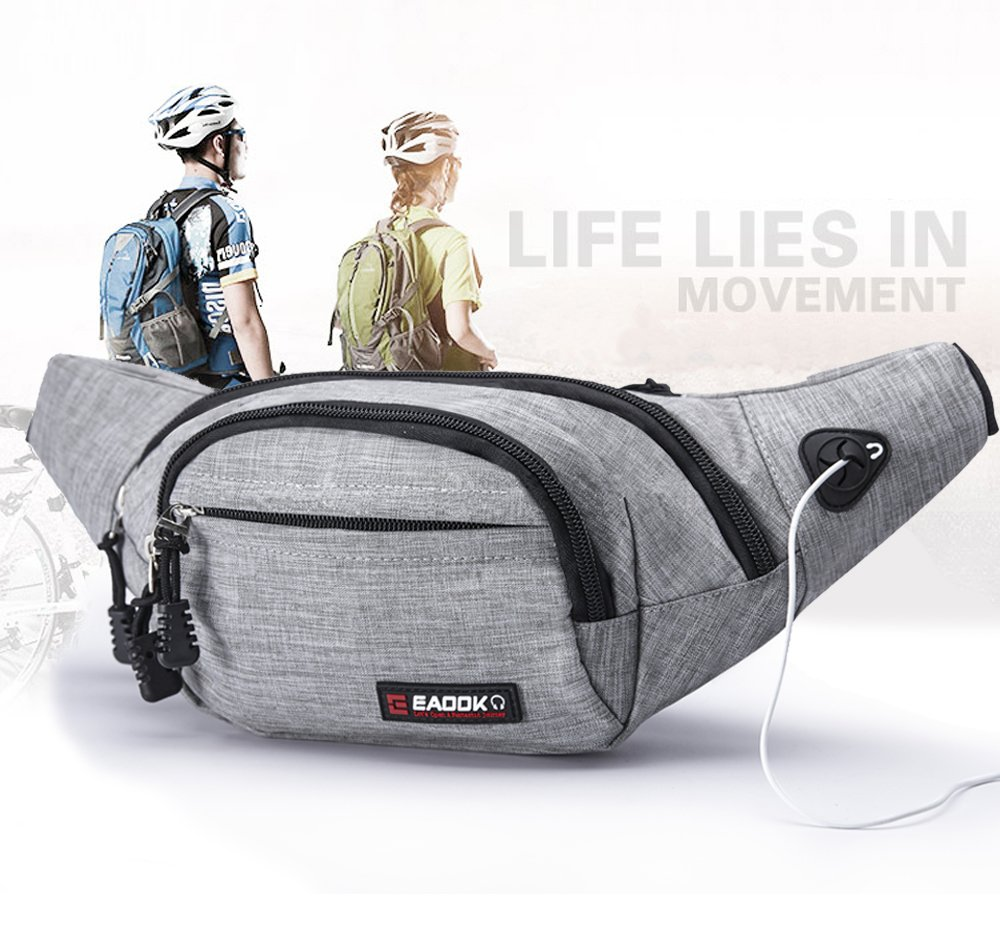 EAOOK Waterproof Travel Belt,Big Fanny Pack for Outdoor Sport/Money Belt(Grey) by EAOOK (Image #2)