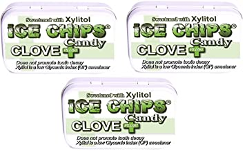 ICE CHIPS Xylitol Candy Tins (Clove Plus, 3 Pack) - Includes BAND as shown