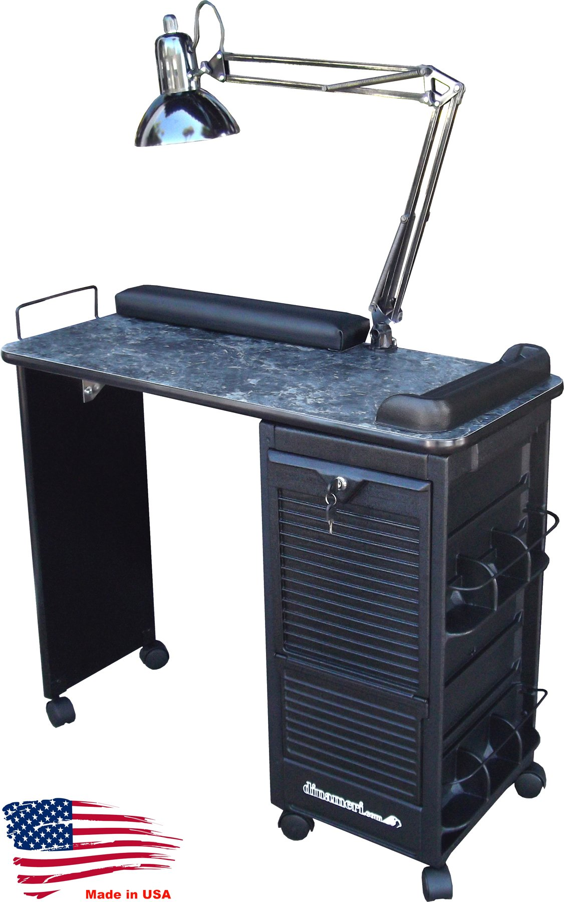 B604-DLX Manicure Nail Table Lockable Black Marble Lam. Top by Dina Meri