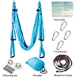 Eoeyog Aerial Yoga Swing Strong Wide Yoga Trapeze/Hammock/Sling for Antigravity Flying Yoga Inversion Fitness Training, Including 2 Durable Extension Daisy Chains & All Mounting Accessories