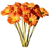 "Mandy's 12pcs Orange Artificial Latex Daisies 15"" for Party Home Kitchen Decoration (vase not Include)"