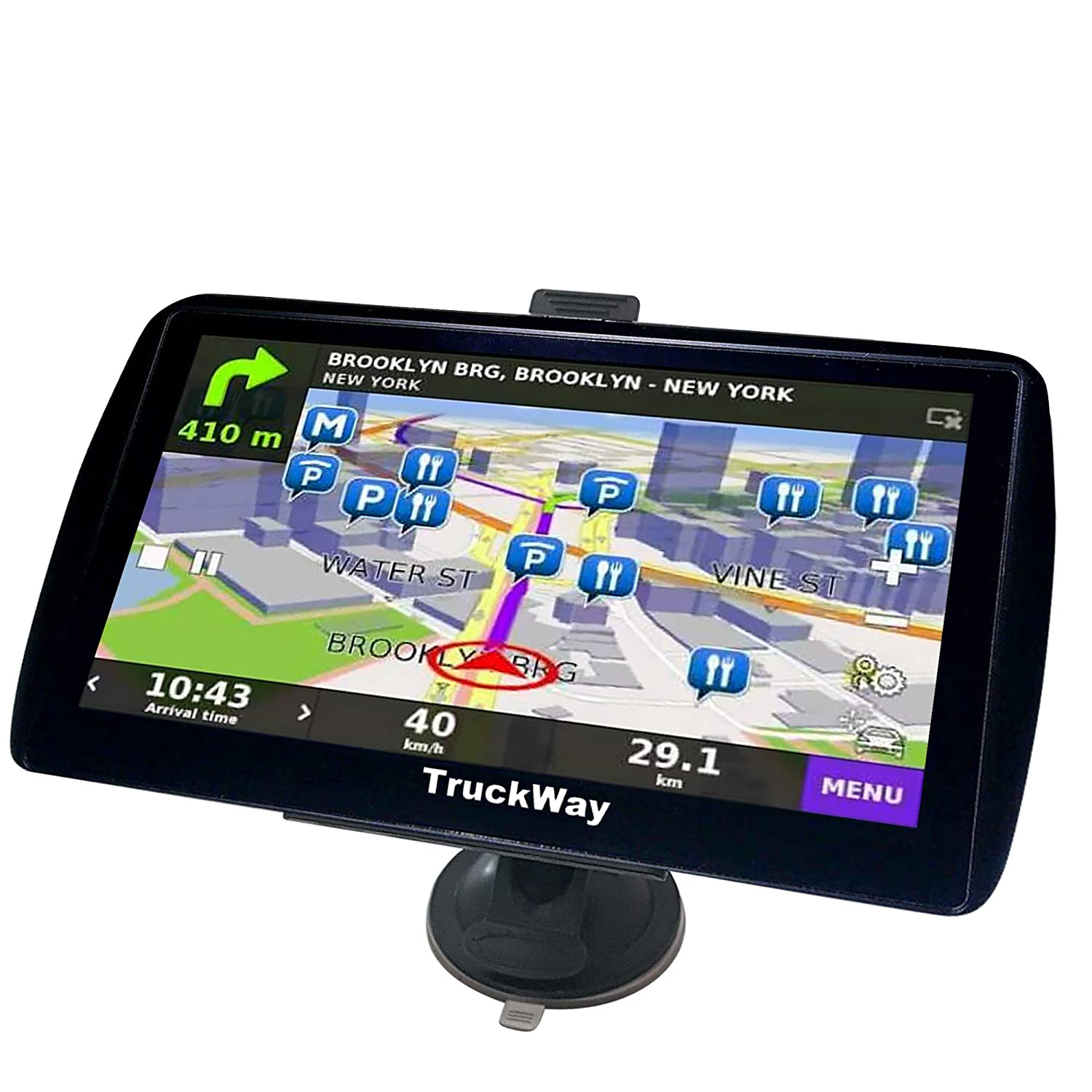 TruckWay GPS - Pro Series Black Edition - Truck GPS 7' inch for Truck Navigation Lifetime North America Maps (USA + Canada) 3D & 2D Maps, Touch Screen, Turn by Turn