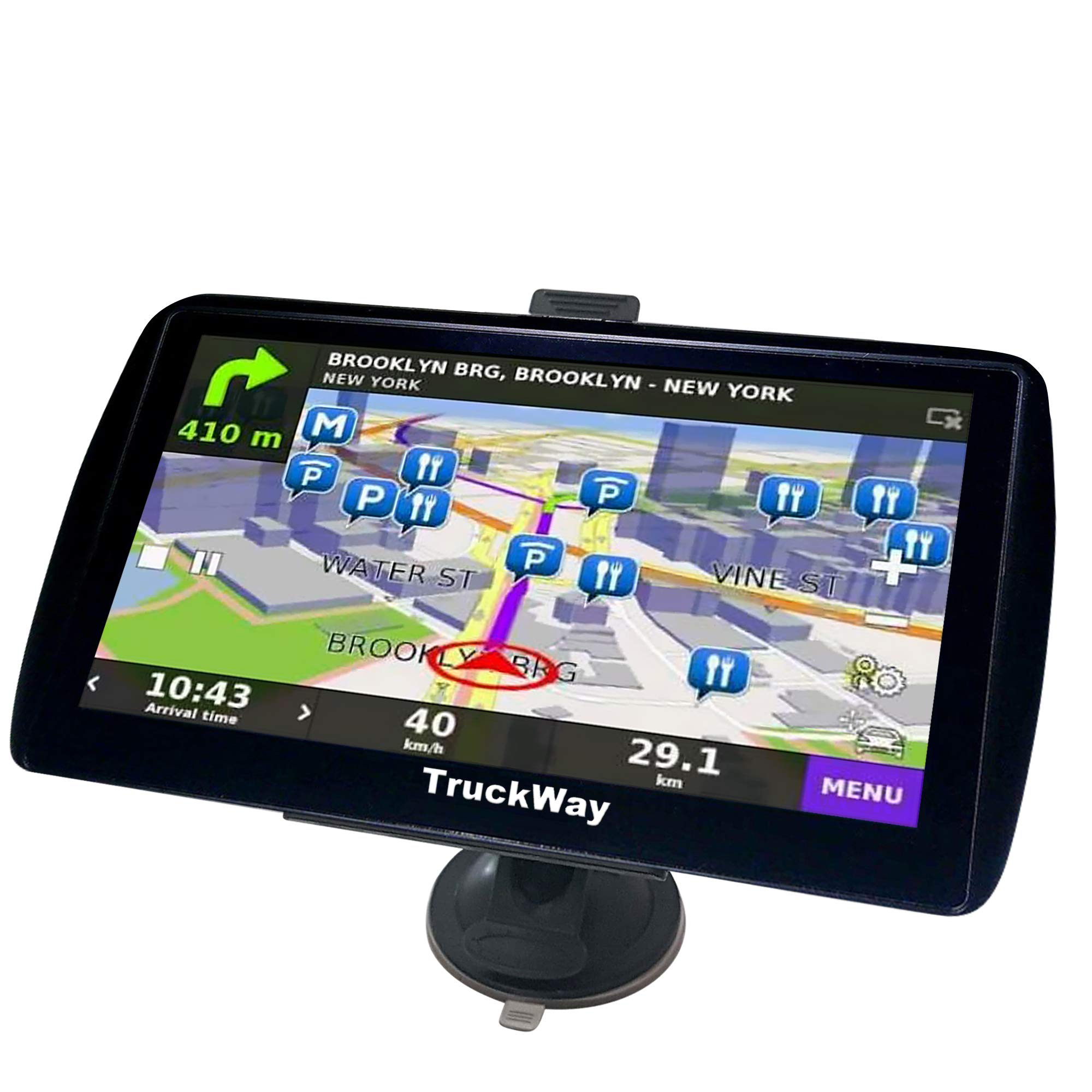 TruckWay GPS - Pro Series Black Edition - Truck GPS 7'' Inch for Truck Navigation Lifetime North America Maps (USA + Canada) 3D & 2D Maps, Touch Screen, Turn by Turn by TruckWay GPS