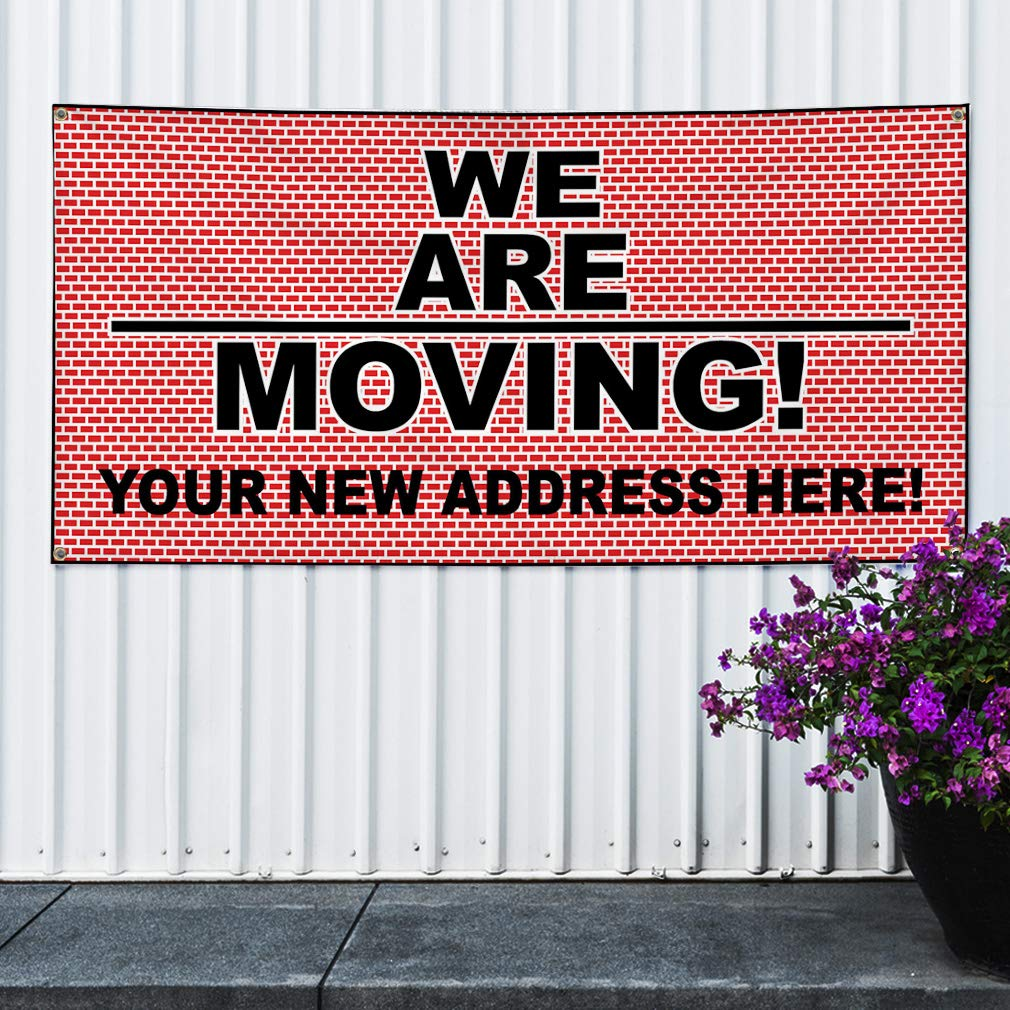 8 Grommets 44inx110in Multiple Sizes Available Vinyl Banner Sign We are Moving Red Black Business Notice Marketing Advertising Red One Banner