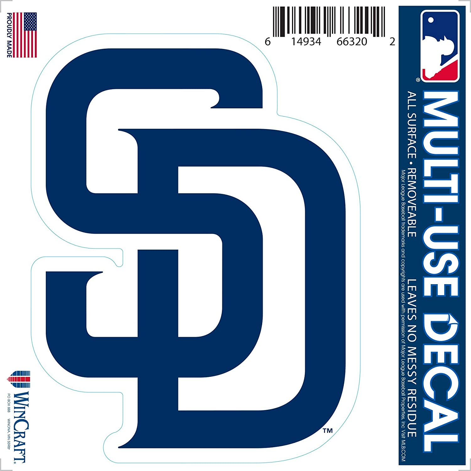 SAN DIEGO PADRES BASEBALL BUMPER STICKER VERY COLORFUL