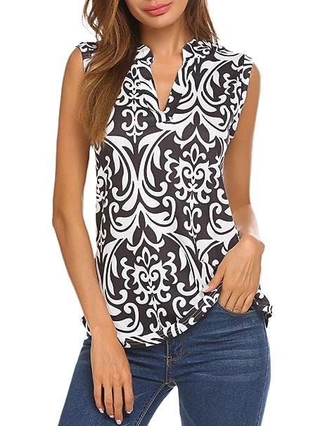 ee40f5b41ecf6 Halife Women's Sleeveless Floral Print V Neck Henley Tank Tops Blouse  Shirts Tunic