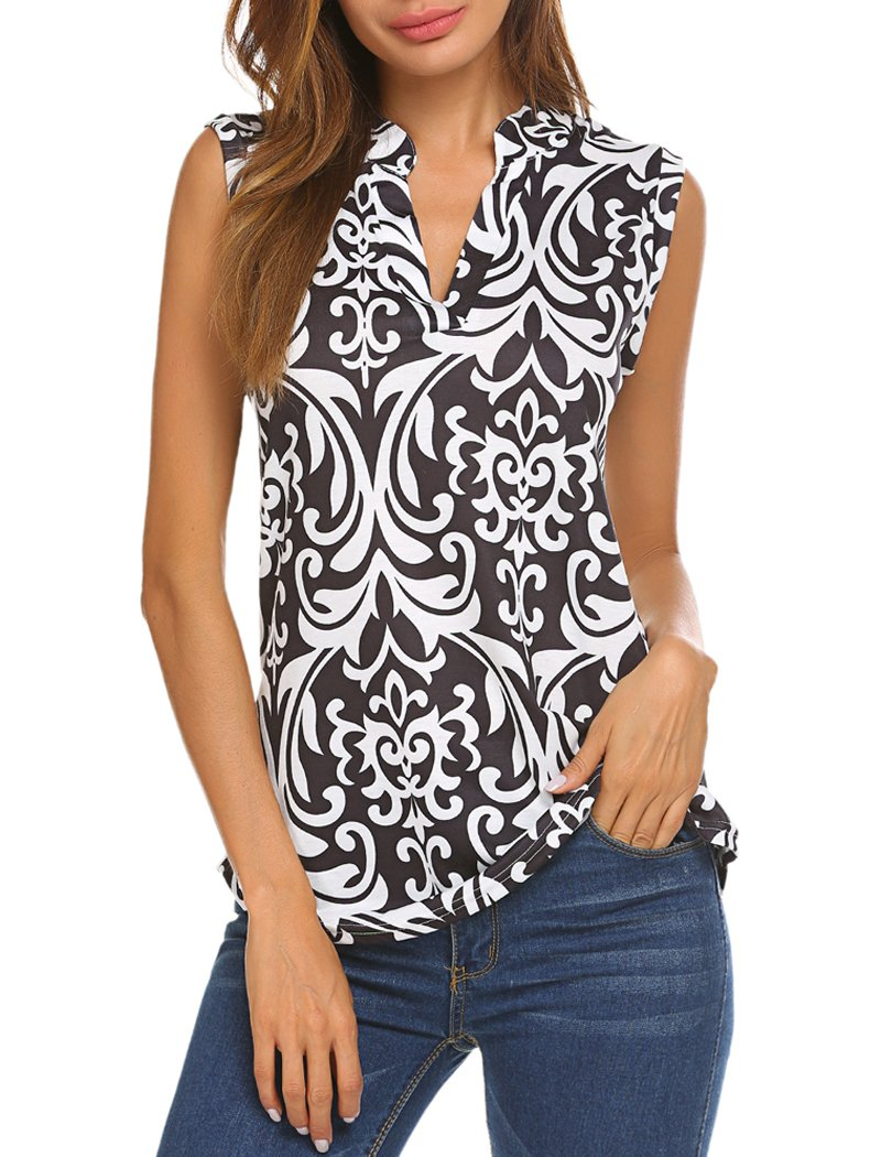 Halife Women's Casual Tops V Neck Paisley Printed Shirts Sleeveless Tunic Blouses Black L
