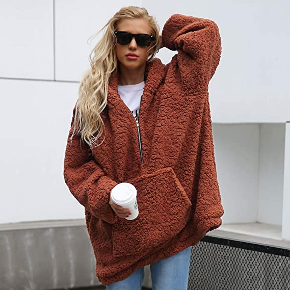 Amazon.com: Clearance Sale! Caopixx Sweatshirts for Women Plus Size Fluffy Fleece Hooded Pullover Outwear: Clothing