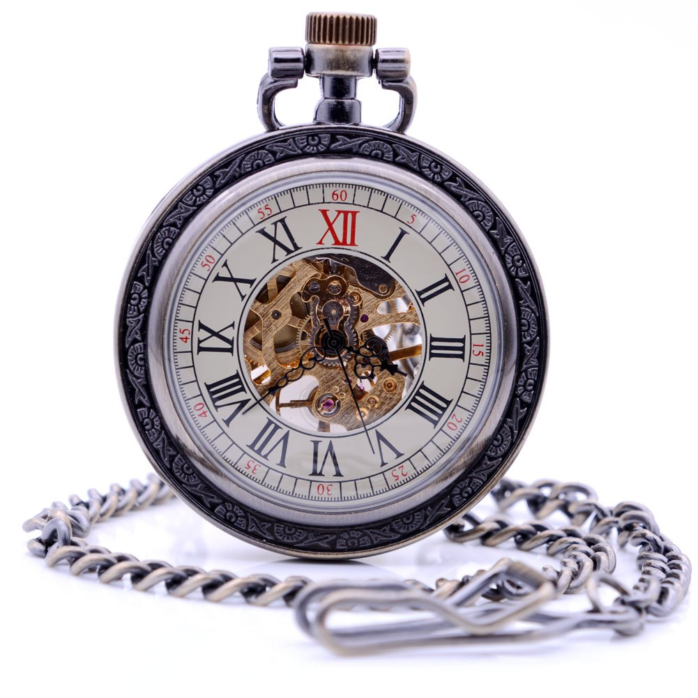 Antique Bronze Roman Numerals Dial Coverless Hand-Wind Mechanical Pocket Watch, Mens Womens Pocket Watch with Chain + Box