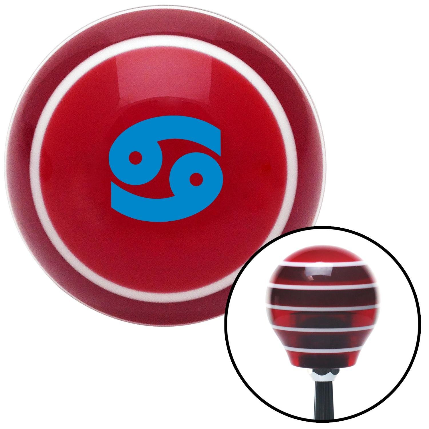 American Shifter 273982 Shift Knob Blue Cancer Red Stripe with M16 x 1.5 Insert