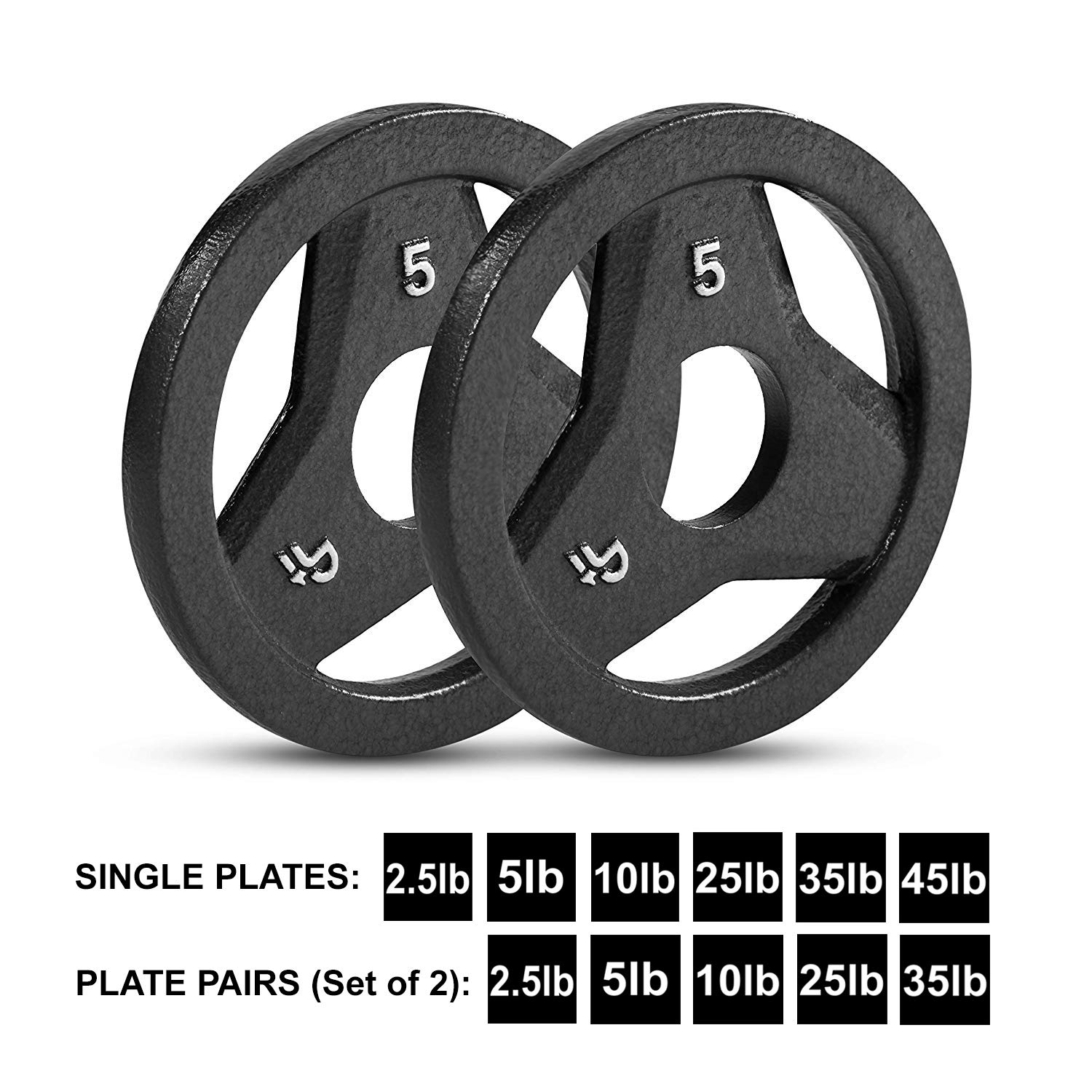 "Day 1 Fitness Cast Iron Olympic 2-Inch Grip Plate for Barbell, 5 Pound Set of 2 Plates Iron Grip Plates for Weightlifting, Crossfit - 2"" Weight Plate for Bodybuilding by Day 1 Fitness (Image #1)"