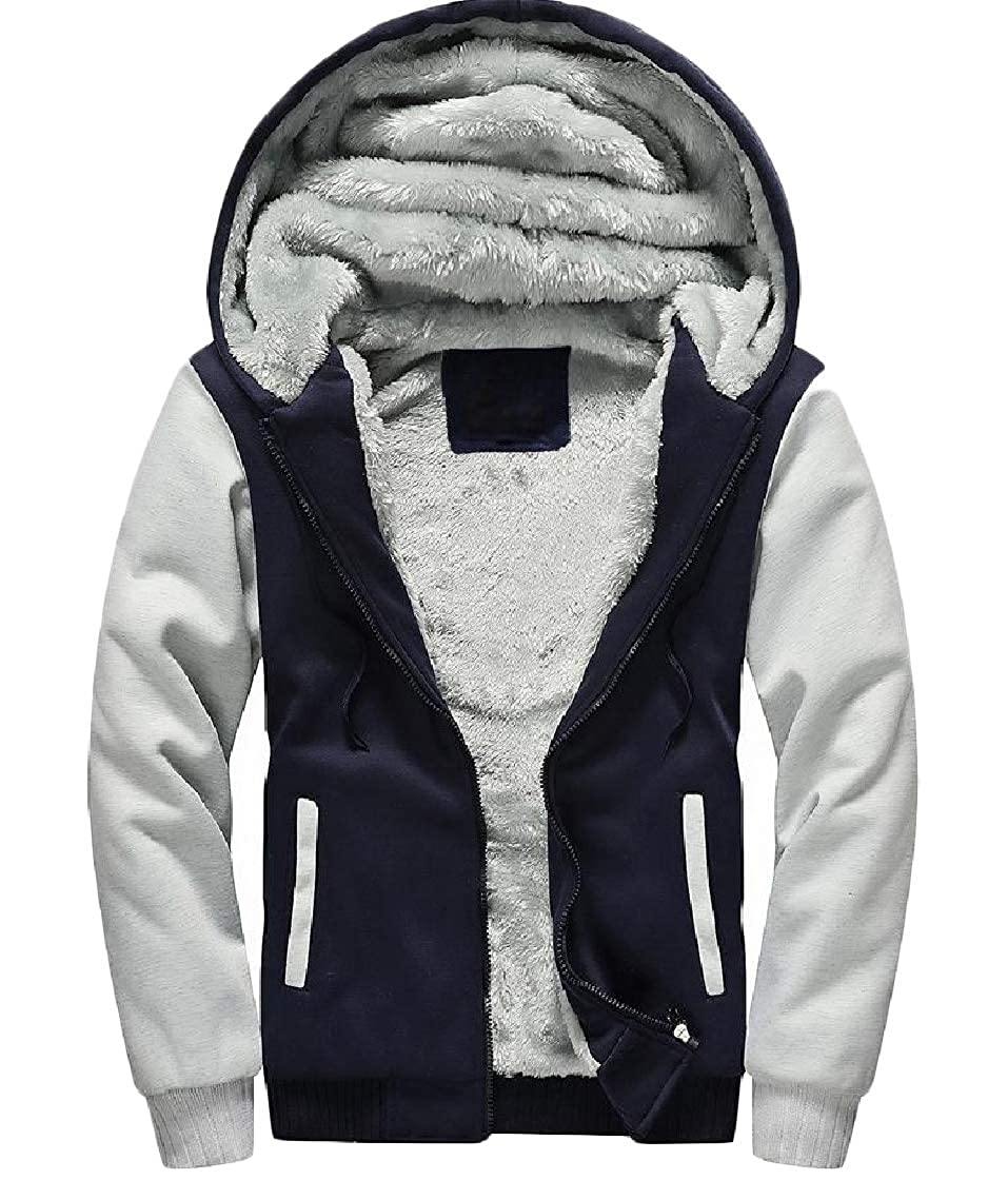 YUNY Mens Velvet Zip Up Casual Hoode Plus-Size Thickened Sweatshirts Jacket Pattern1 L