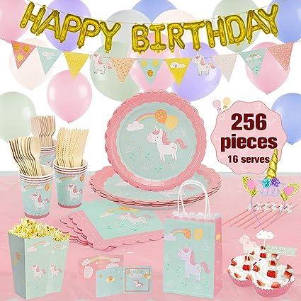 Juego de vajilla de unicornio para fiesta de cumpleaños ...
