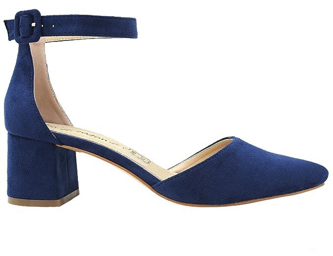 6371ac9a Greatonu Zapatos de Tacón Ancho con Tiras Traseras Mujer: Amazon.es: Zapatos  y complementos