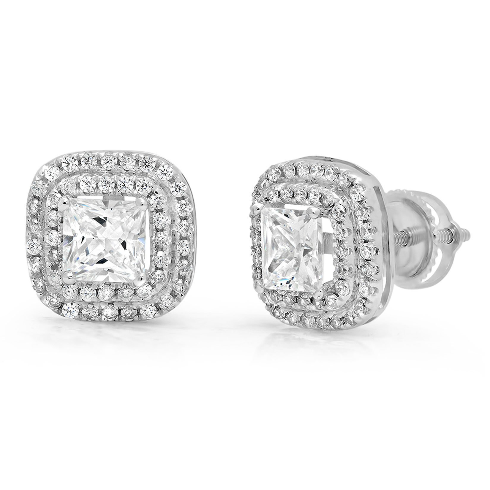 Clara Pucci 2.79 CT CZ Princess Cut SOLITAIRE Double HALO Stud EARRINGS Real 14K White GOLD