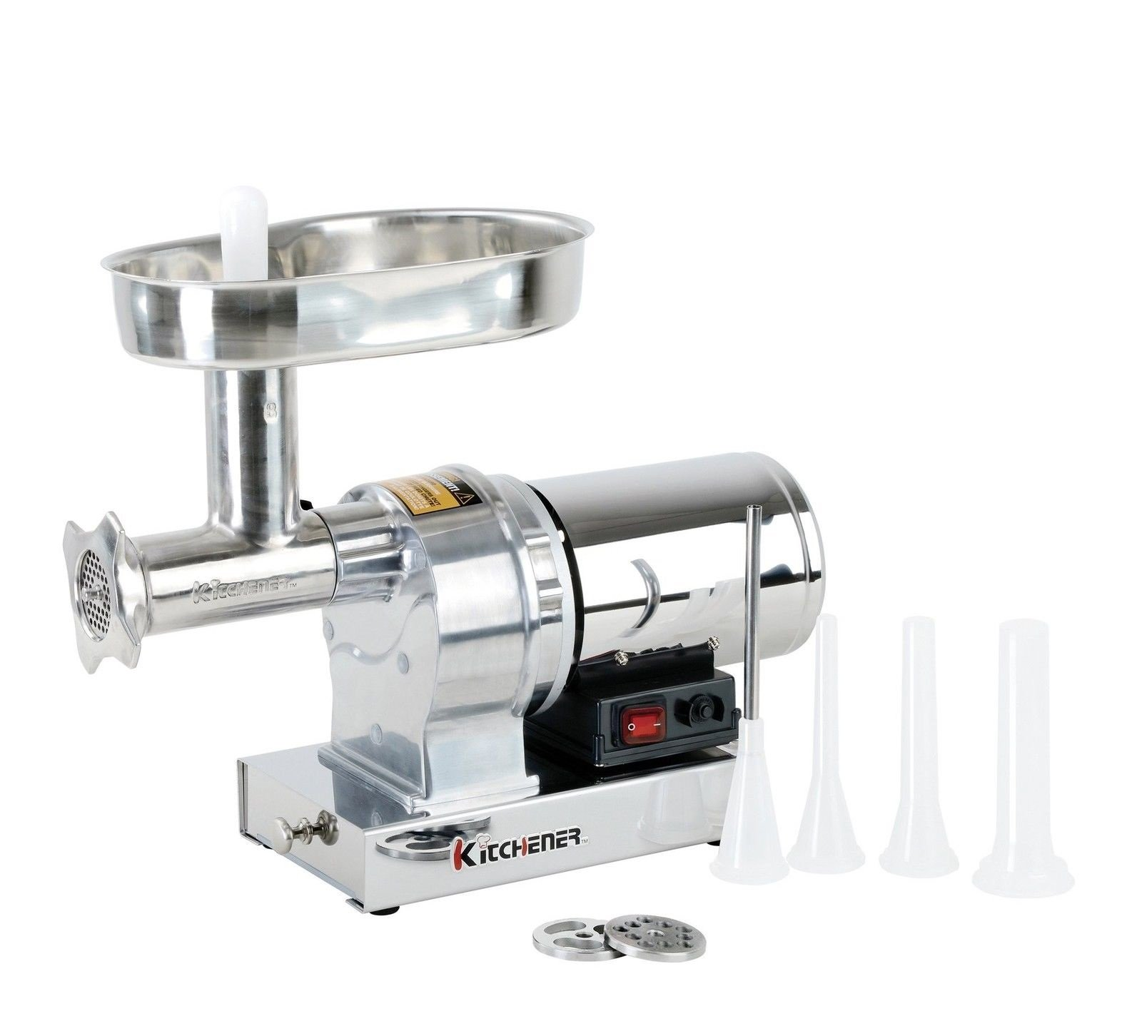 Kitchener #8 Commercial Grade Electric Stainless Steel Meat Grinder 1/2 HP (370W), (480-lbs Per Hour) by Kitchener (Image #1)