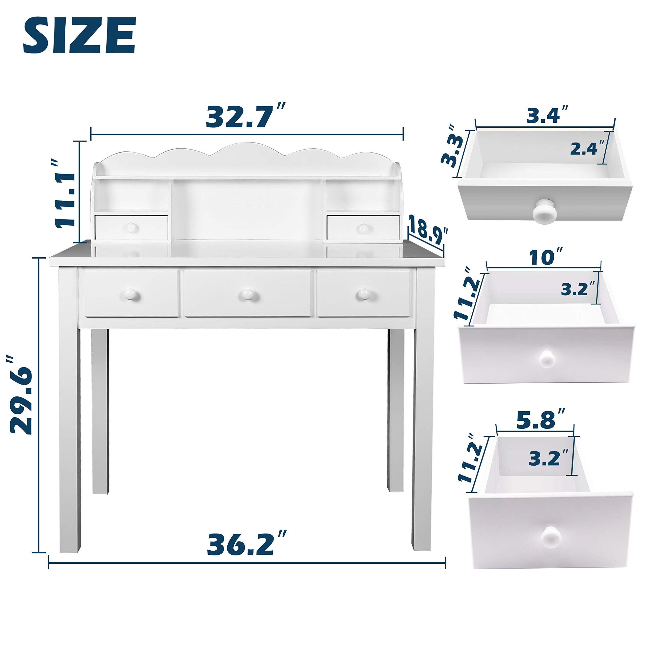 Home Office Furniture Writing Desk,Computer Work Station with Detachable Hutch,5 Drawers(White) by FUNKOCO (Image #5)