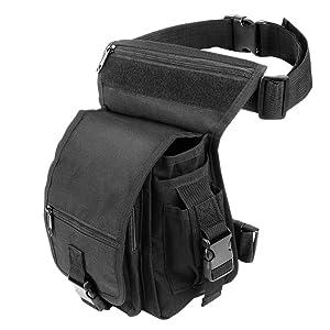Exterior táctico impermeable pierna bolsa banana para deporte caminata camping militar bolsa Molle cinturón bolsa moto para hombres, negro