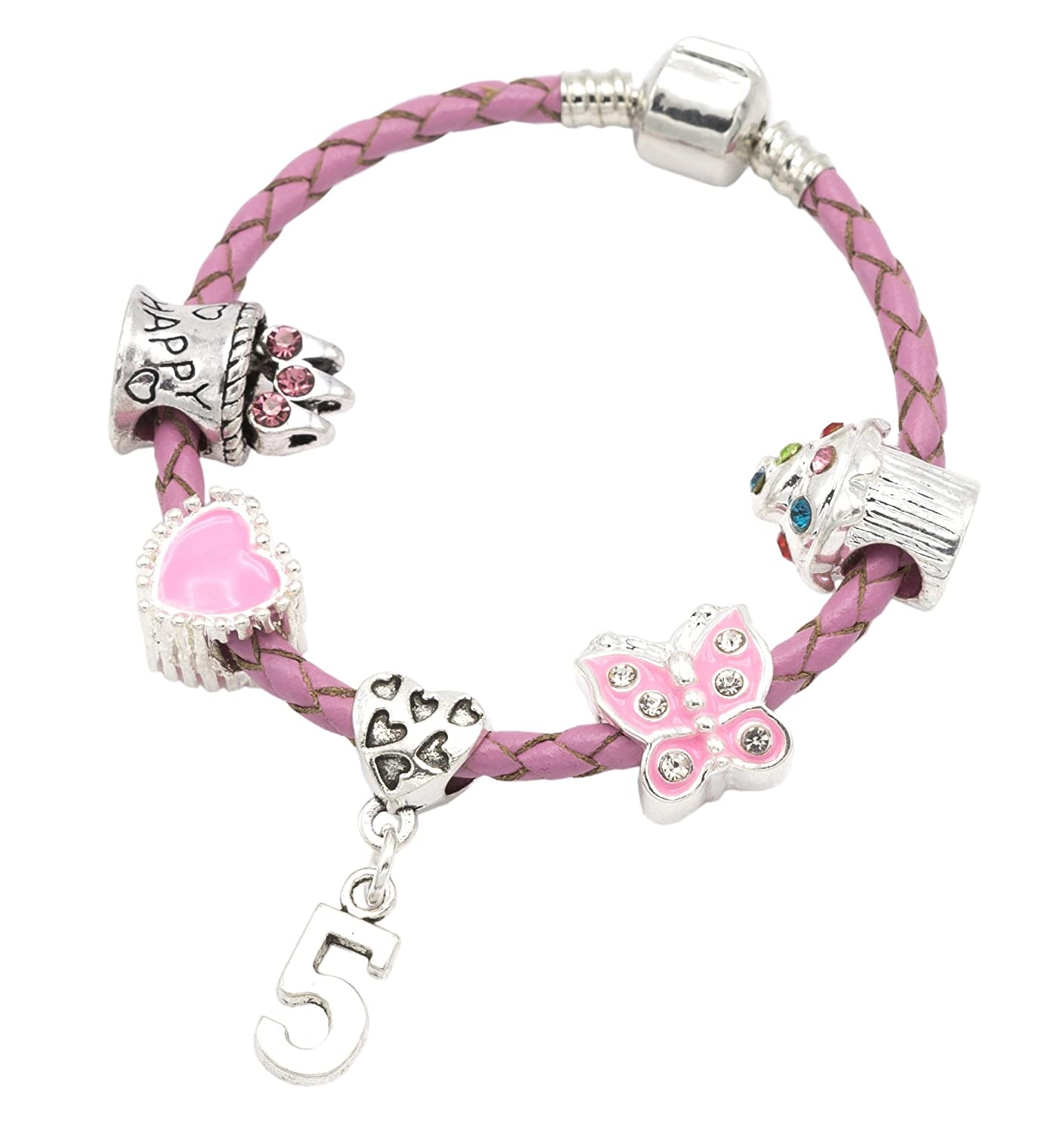 Children's Pink Leather Happy 5th Birthday Charm Bracelet With Lovely Jewellery Hut Gift Pouch - Girl's & Children's Birthday Gift Jewellery BRKID5