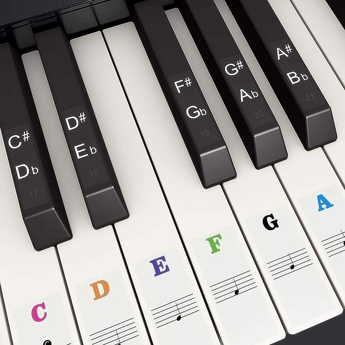 Pegatina de Piano Pegatinas de Teclados de Piano para 37, 49, 54, 61, 88 Teclas, Fansjoy Reemplazo Pegatinas Teclado de Piano Pegatina de Notas para ...