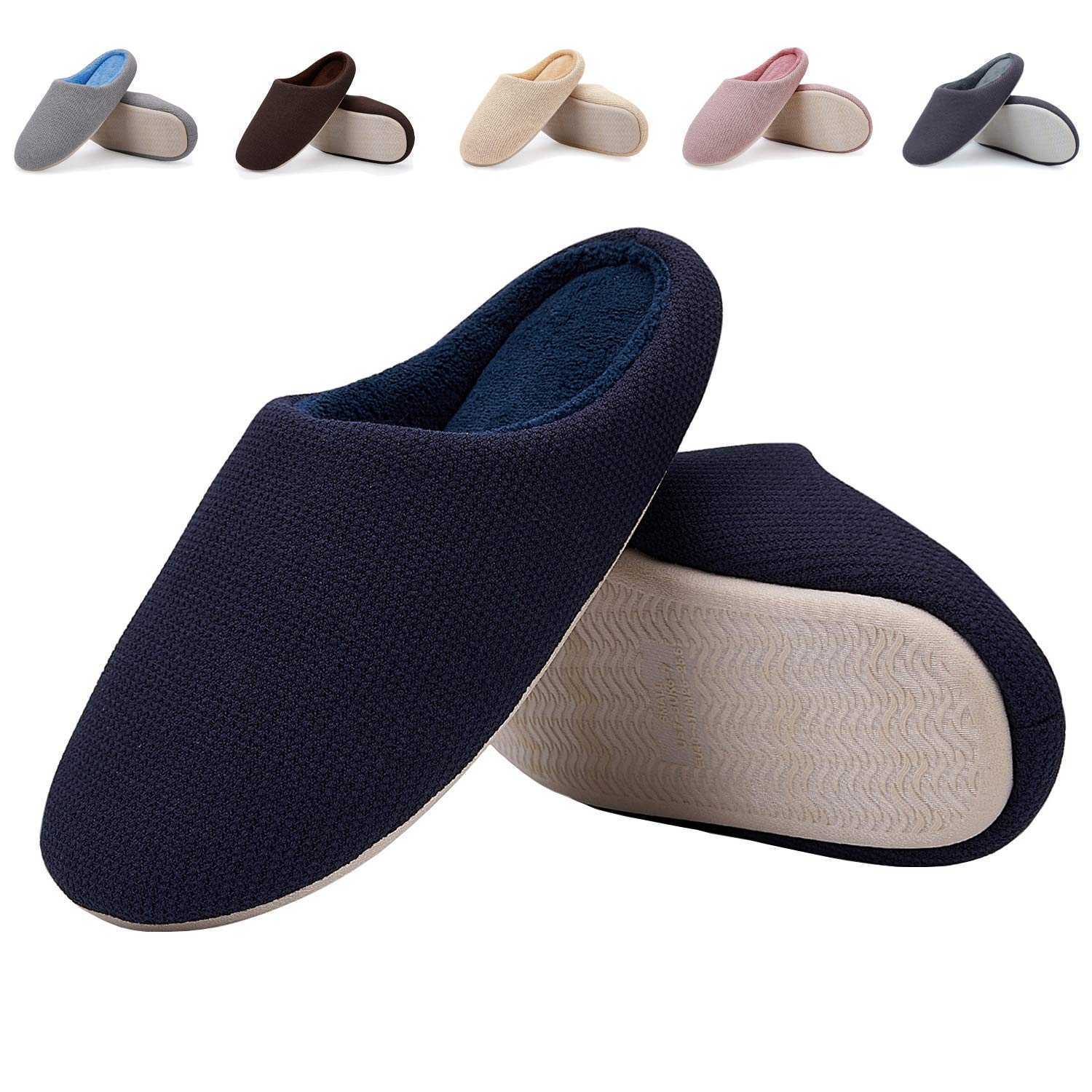 EASTSURE Men Indoor Slippers Memory Foam House Shoes with Anti-Slip Sole,Navy 42-43