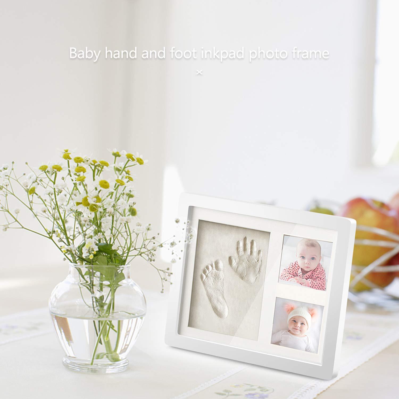Abdruckset Bilderrahmen Baby Geschenk Wei/ß Baby Holz Bilderrahmen mit Gipsabdruck f/ür Baby Hand und Fu/ß Besonderes Geschenk zur Geburt f/ür Neugeborene NATEE Baby Handabdruck und Fu/ßabdruck