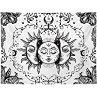 DYRCJ Tapiz De Tarot Sol Y Luna Tapiz Psicodélico Tapiz Celestial Negro Tapiz De Pared Mandala Indio Hippie Bohemio…