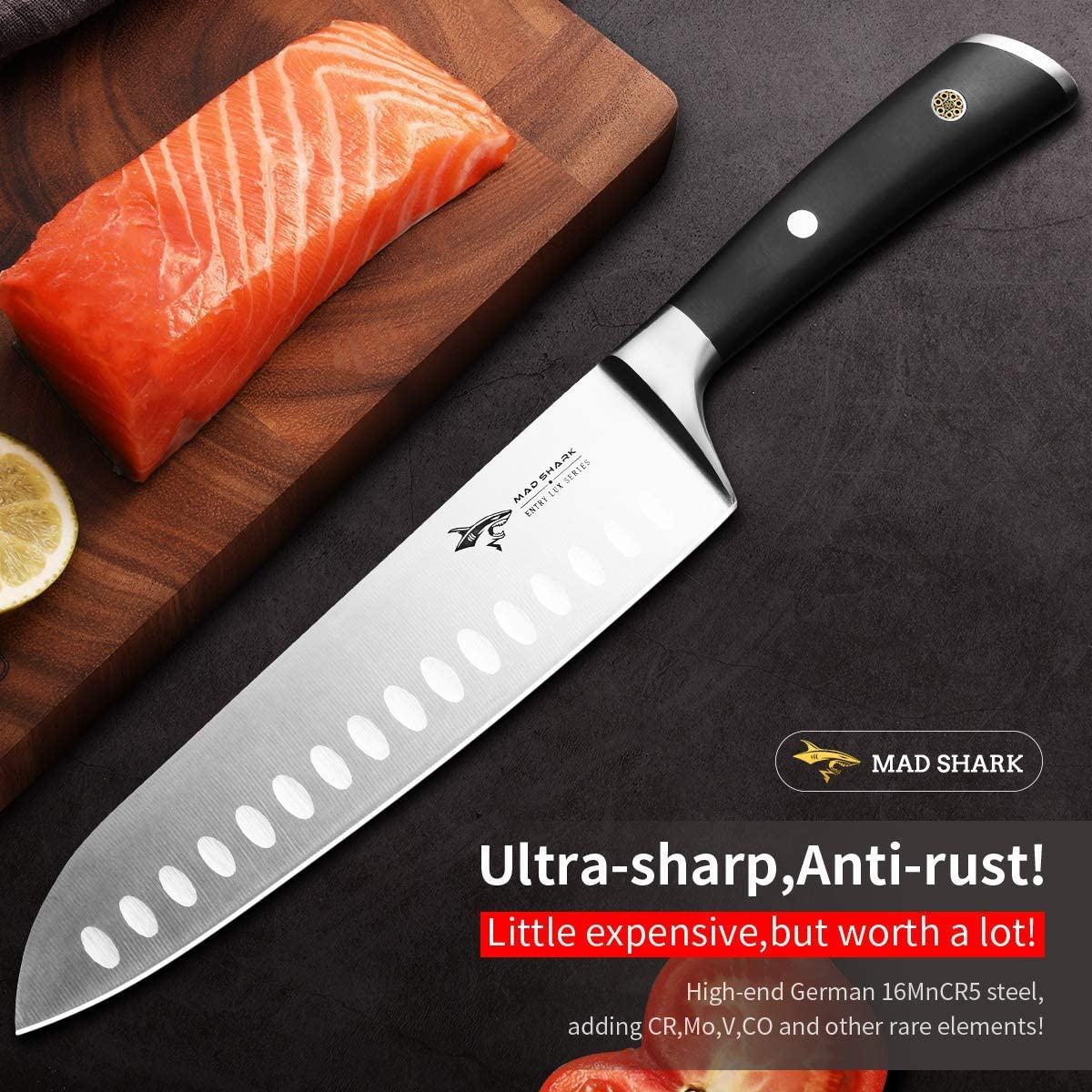 Santoku Knife Professional - MAD SHARK Chefs Knife 8 Inch Japanese Kitchen Knives,Best Quality German Carbon Stainless Steel Knife with Ergonomic Handle,Ultra Sharp,Best for Home and Restaurant
