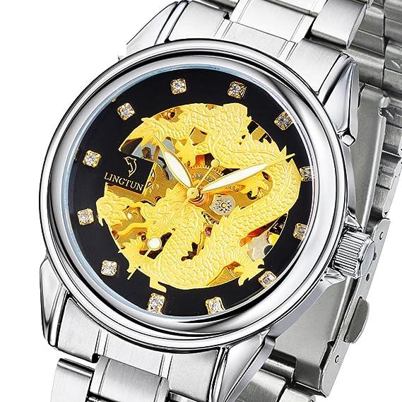 HombresS watch, Reloj hueco automático luminoso reloj mecánico del estudiante-E