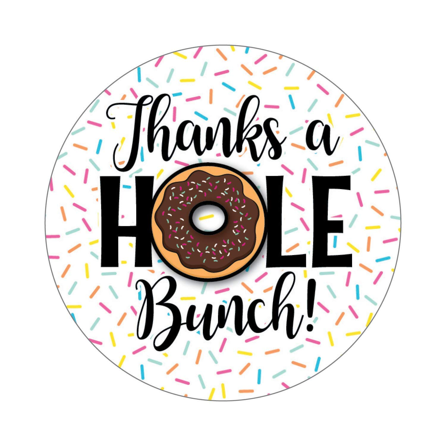 2.5 Set of 36 Stickers Doughnut Thank You Labels - Sprinkle Donut Party - Thanks a Hole Bunch