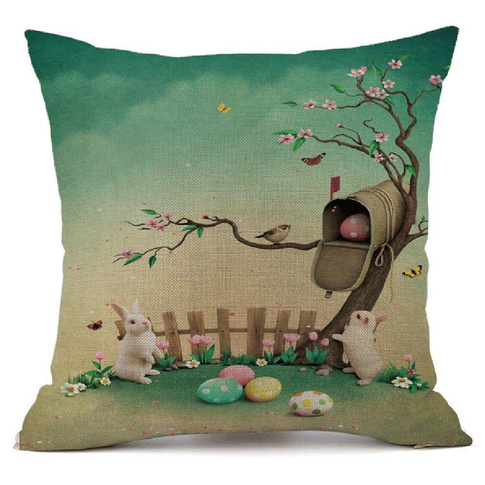 Geetobby Happy Easter Gift Cute Bunny Rabbit Flower Eggs Basket Linen Throw Pillow Case Home Decor