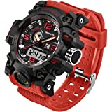 Men's Watch Outdoor Sports Waterproof Military Multifunction Dual Display LED Stopwatch Analog Army Wristwatch Tactical