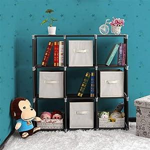 Cimiva Cube Storage-9 Cube, Closet Organizer,Office Storage & Organization,DIY Water-Proof Storage Shelves, Bookcase,Bookshelf for Office, Bedroom, Dorm Room, College, Living Room-Black