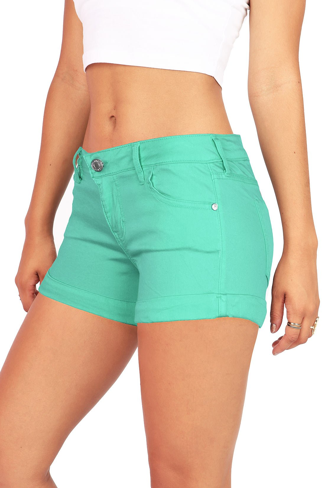 Celebrity Pink Women's Juniors Casual Cuffed Design Shorts (9, Jade) by Celebrity Pink (Image #2)
