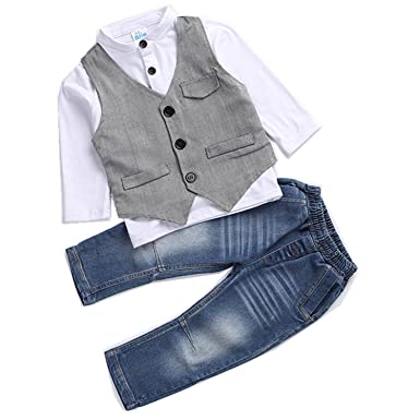 81a15204e5 Kids Boys Clothing Sets Shirt and Vest Jeans Clothes Suit for 2 to 5 Age  Little