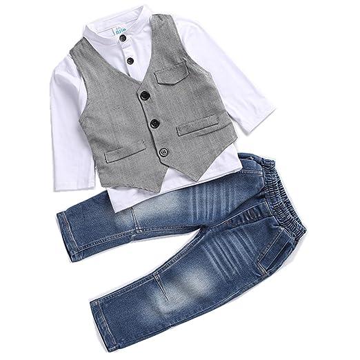 7ea471961b668 Kids Boys Clothing Sets Shirt and Vest Jeans Clothes Suit for 2 to 5 Age  Little Boy
