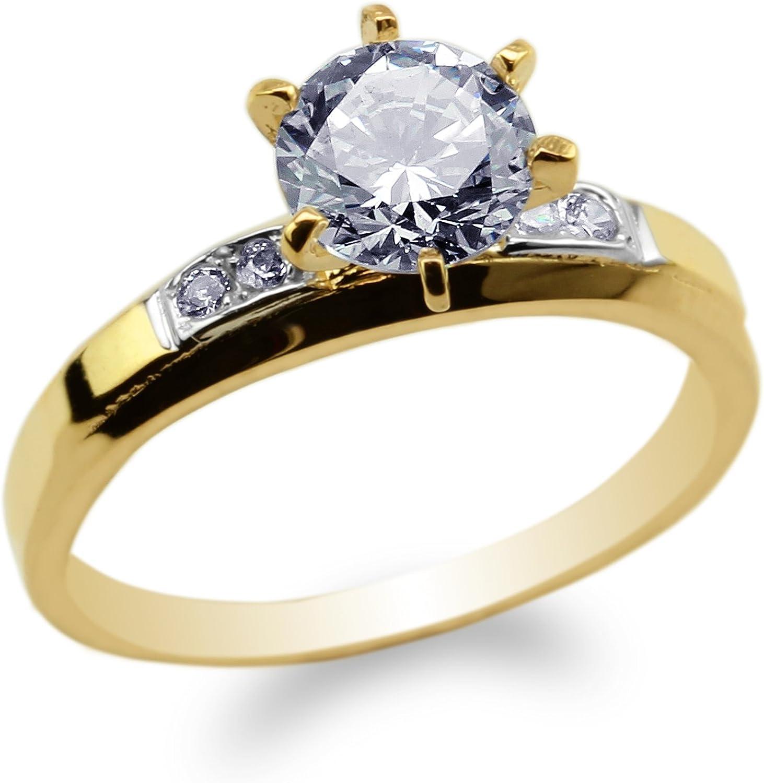 Womens 10K Yellow Gold Three Tone Pattern Round CZ Engagement Band Ring Size 4-10
