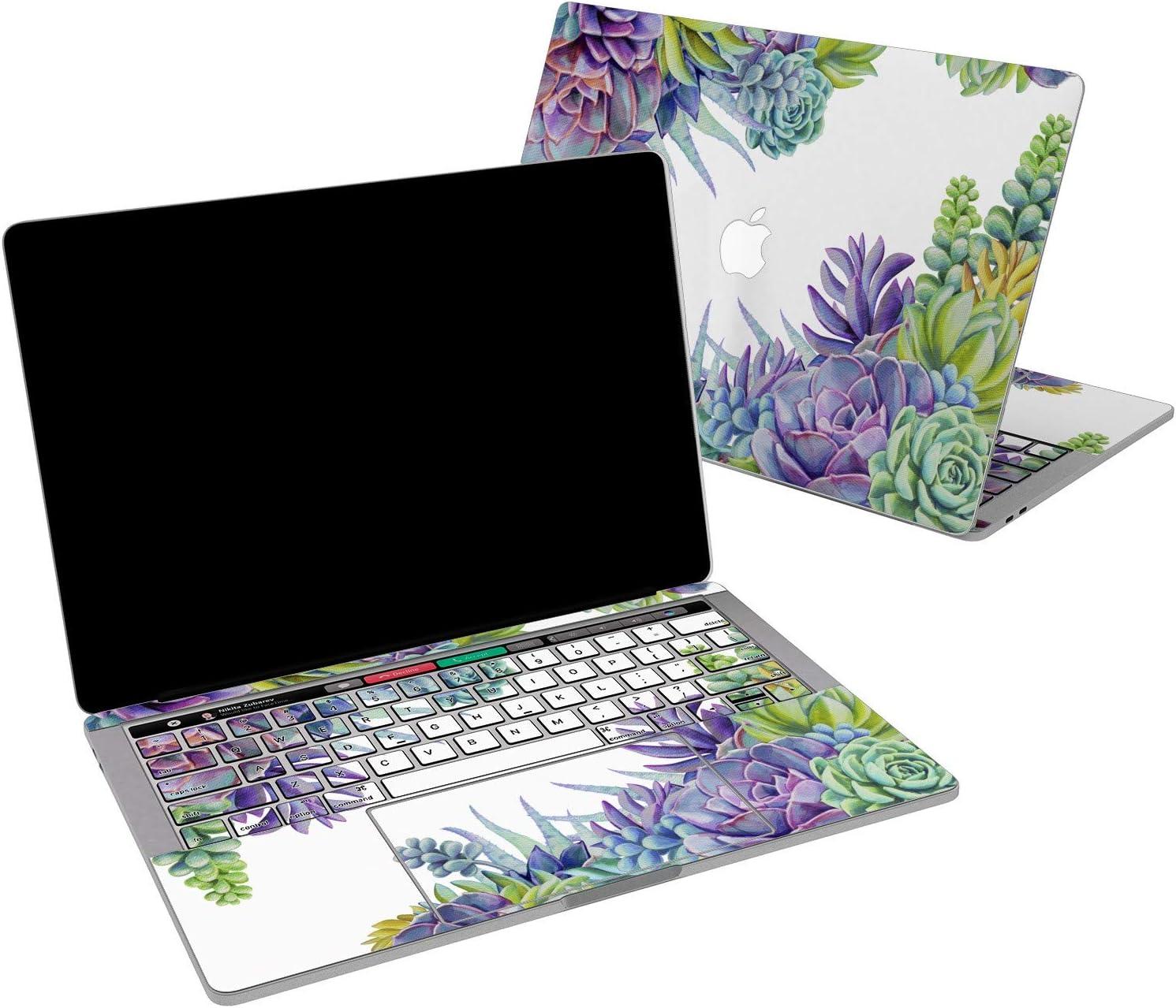 Lex Altern Vinyl Skin for MacBook Air 13 inch Mac Pro 16 15 Retina 12 11 2020 2019 2018 2017 Succulent Flowers Purple Floral Cactus Stylish Print Laptop Cover Keyboard Decal Sticker Design Top
