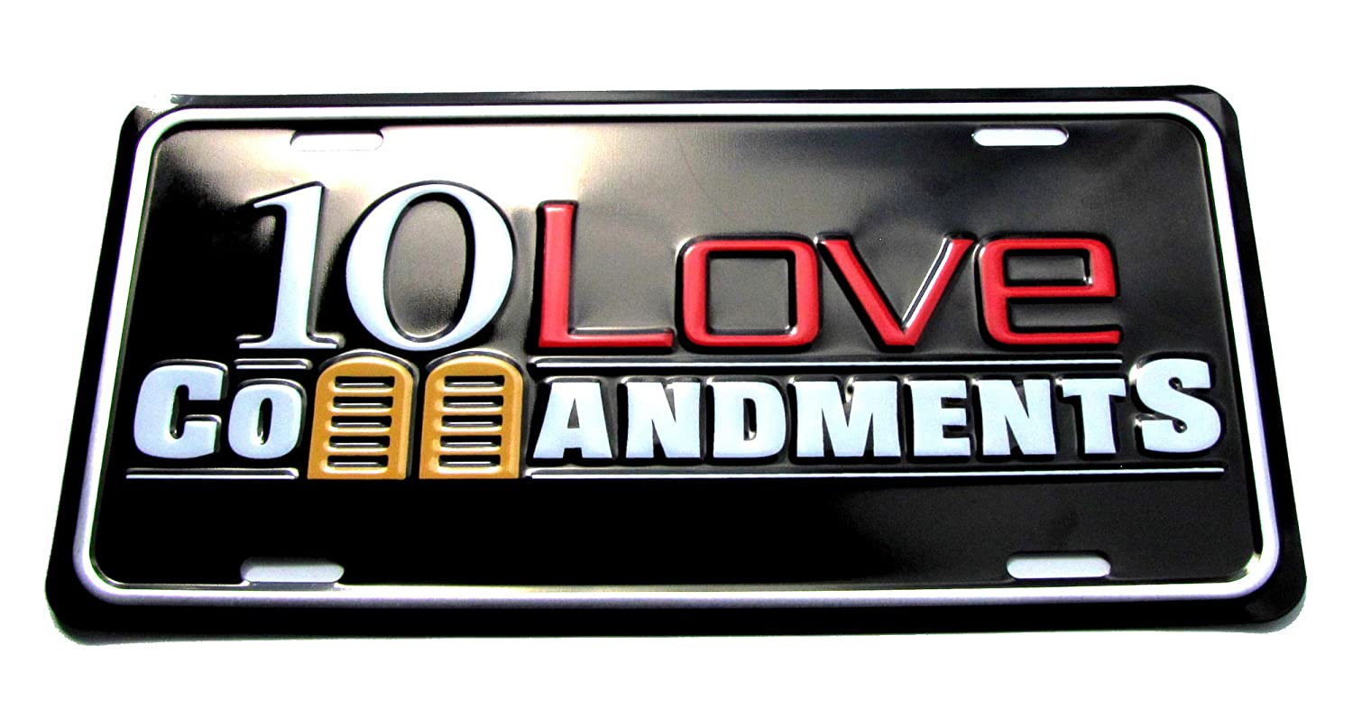 Amazon com: 10 Love Commandments Embossed License Plate