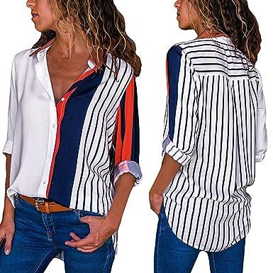 Blusas Mujer Casual Manga Larga Tumblr Camisetas con Botón Tops: Amazon.es: Ropa y accesorios