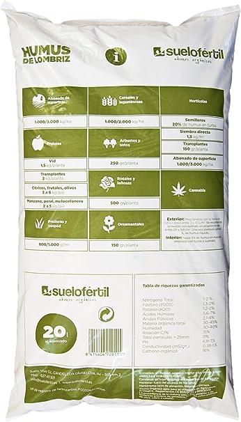 Suelo Fértil Humus de Lombriz 20l (12kg): Amazon.es: Jardín