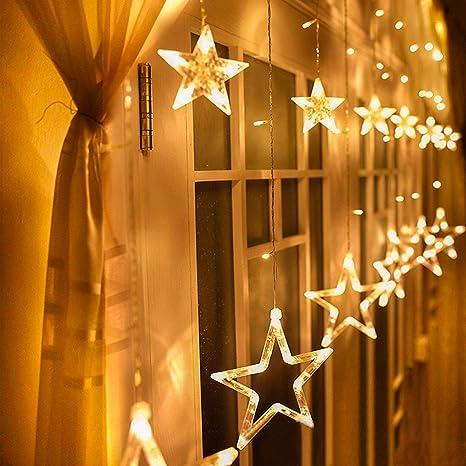 LED Lichterkette Lichtervorhang 12 Sterne Sternenvorhang Weihnachtsdeko 8 Modi