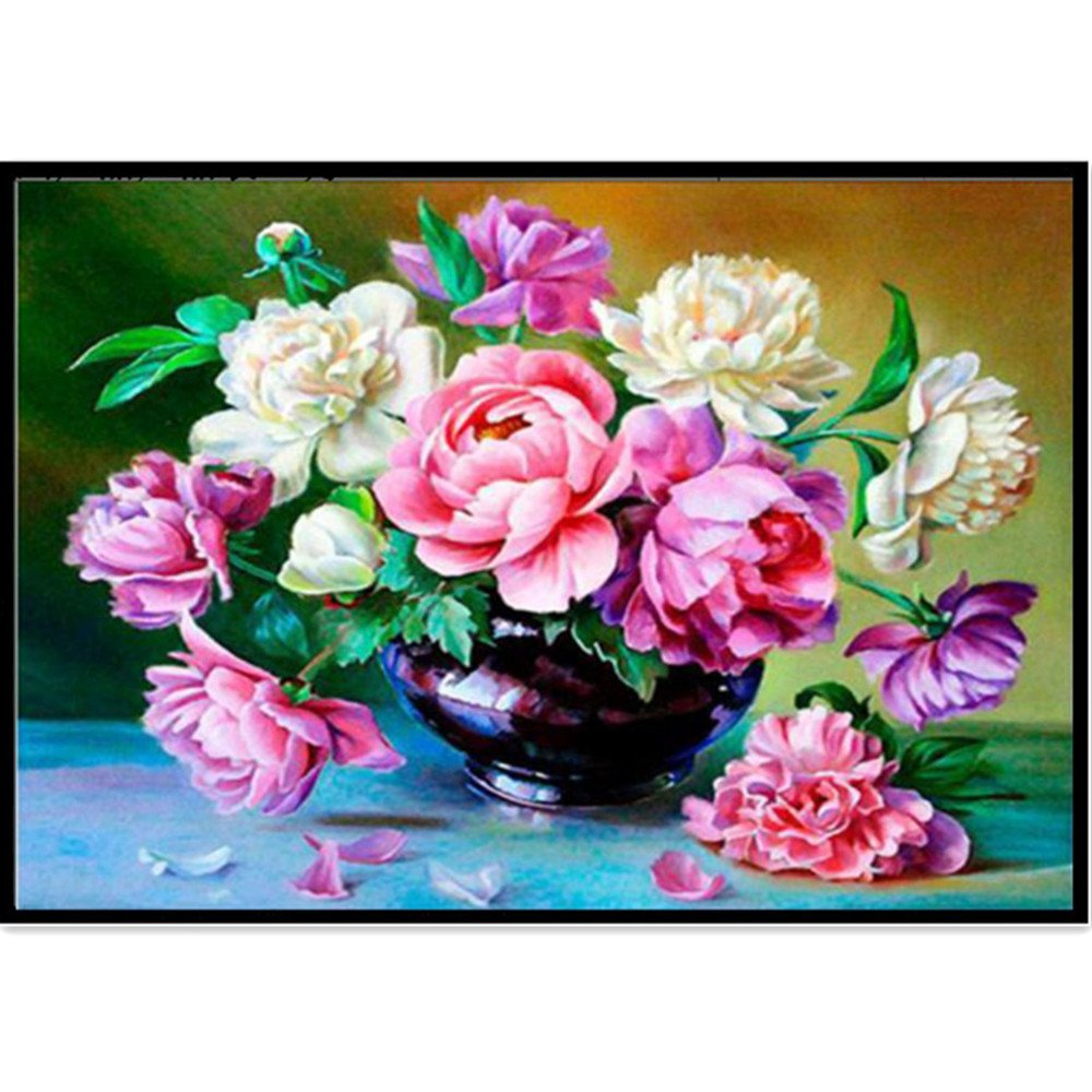 NIHAI DIY 5D Diamond Painting Kit, Round Drill Flowers Pattern Paintings Embroidery Cross Stitch Arts Craft Canvas Wall Décor for Living Room Bedroom or Perfect Gift for Family and Friends