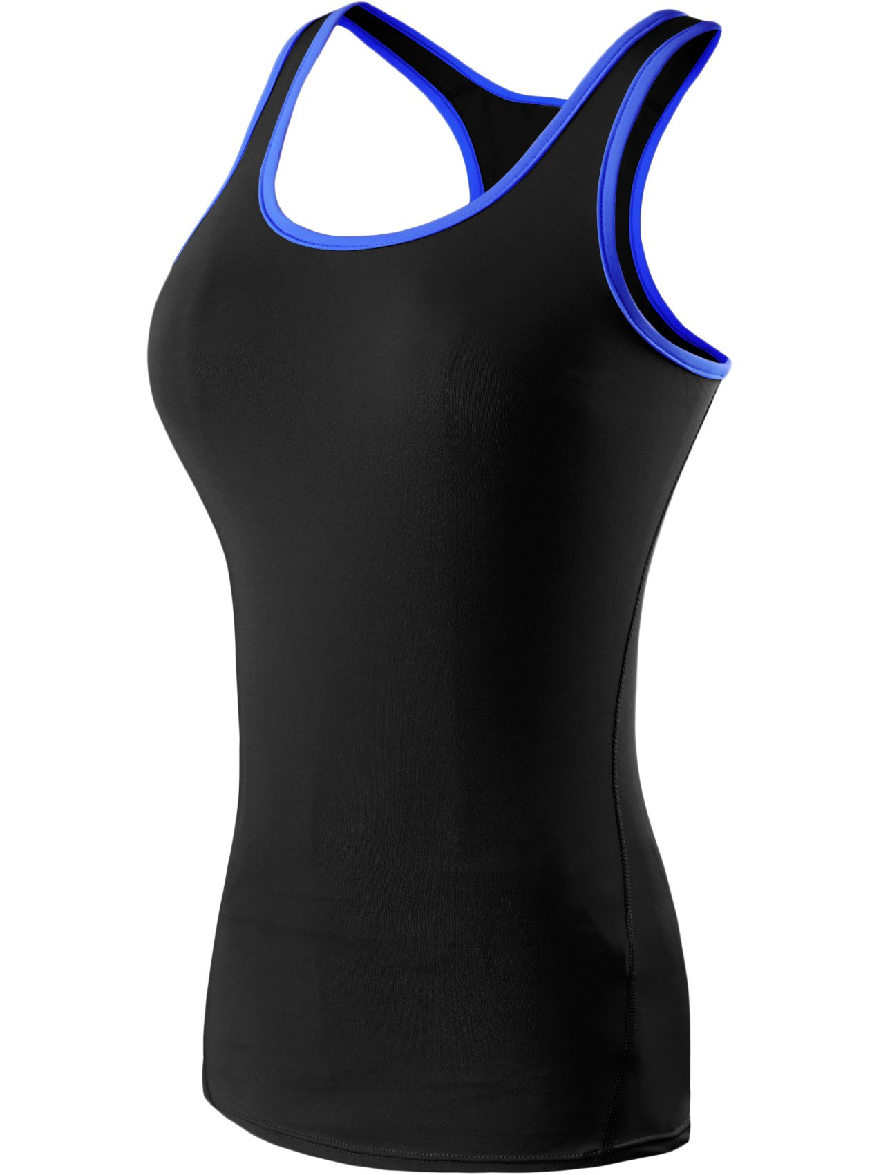 Neleus Women's 3 Pack Compression Athletic Tank Top for Yoga Running,Blue,Green,Rose,EU XL,US L