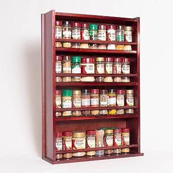 Spice Rack – aus Holz, geschlossene Top – 4 Etagen – Holz Bar ...