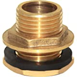 "Joywayus 3/4"" Male Thread Brass Water Tank Connector Bulkhead Tank Fitting with Rubber Ring Stablizing It"